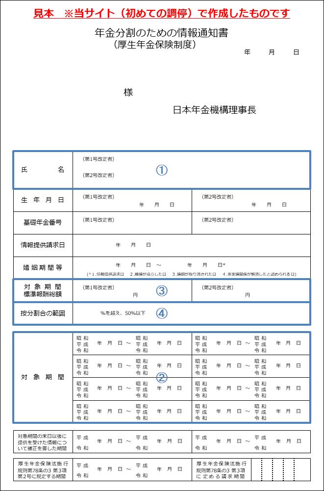 年金分割のための情報通知書